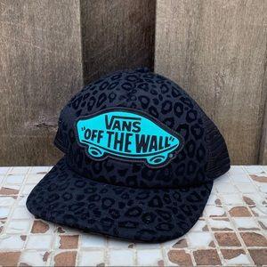 VANS Trucker SnapBack Hat Black Teal Leopard